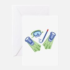 Snorkel Flippers Greeting Cards