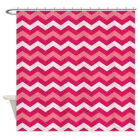 Pink chevron shower curtain by nature tees