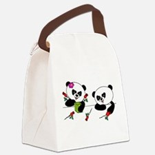 Panda and roses Canvas Lunch Bag