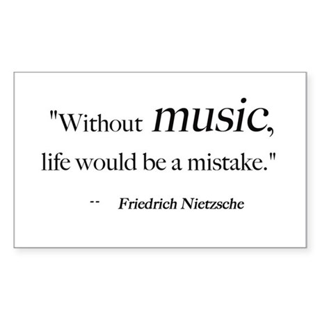 Without music, life is a mist Sticker (Rectangular