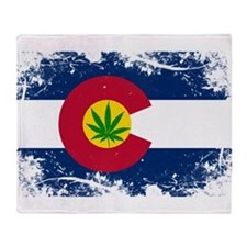 Colorado Marijuana Flag Throw Blanket