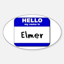 hello my name is elmer Oval Decal