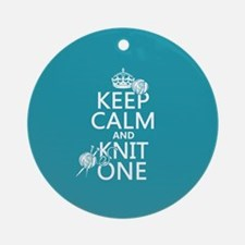 Keep Calm and Knit One Ornament (Round)