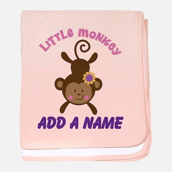 Girl Monkey Personalized baby blanket