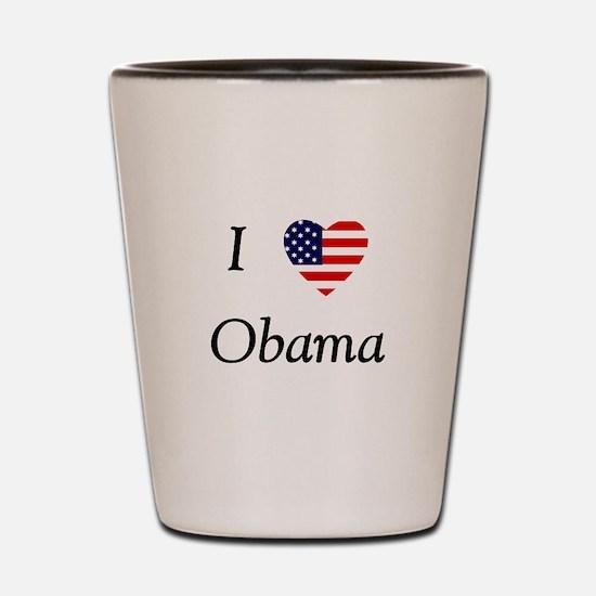I love Obama (flag) Shot Glass