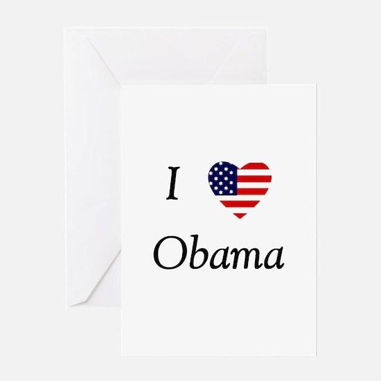 I love Obama (flag) Greeting Card