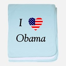 I love Obama (flag) baby blanket
