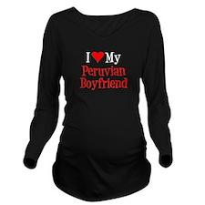 I Love Peruvian Boyfriend Long Sleeve Maternity T-
