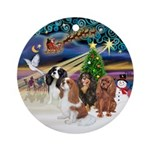 Xmas Magic-Four Cavaliers Ornament (Round)