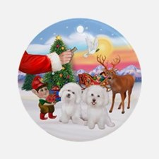 Treat For Two Bichon Frise Ornament (round)