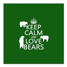 "Keep Calm and Love Bears Square Car Magnet 3"" x 3"""
