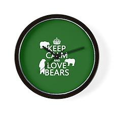 Keep Calm and Love Bears Wall Clock