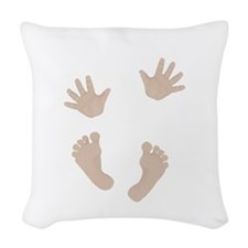 Adorable Baby Hand and Feet Woven Throw Pillow
