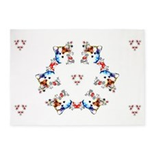 Way too cute Corgi Heart 5'x7'Area Rug