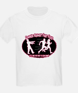 Zombies Against Fast Food (purple2) T-Shirt