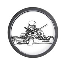 Kart Racing in Black and White Wall Clock