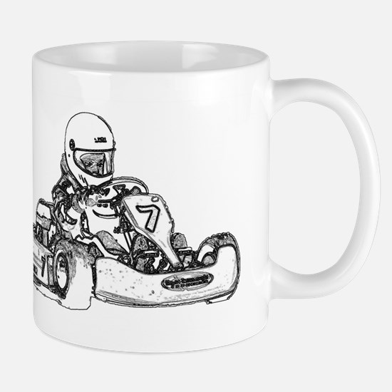 Kart Racing in Black and White Mugs