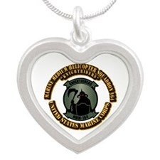 USMC - HMM - 164 With Text Silver Heart Necklace