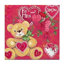 Teddy Bear Valentine Tile Coaster