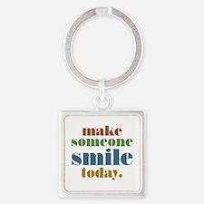 Make Someone Smile Square Keychain