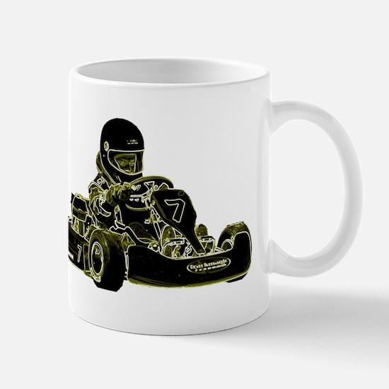 Kart Racing Black White and Green Mugs