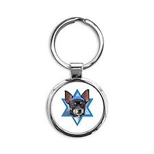 Hanukkah Star of David - Chihuahua Round Keychain