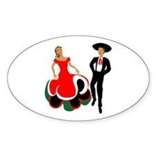 Mexican Dancers Oval Decal