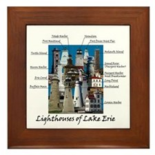 Lighthouses Of Lake Erie Framed Tile