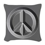 Silver Peace Sign Woven Throw Pillow