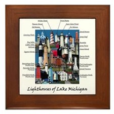 Lighthouses Of Lake Michigan Framed Tile