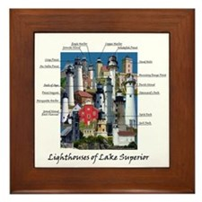 Lighthouses Of Lake Superior Framed Tile