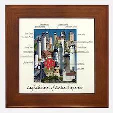 Lighthouses Of Lake Superior Framed Tile