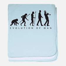 Evolution of man ska trumpet player baby blanket
