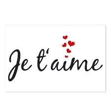 Je taime, I love you, French word art Postcards (P