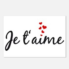 Je taime, I love you, French word art Postcards (P