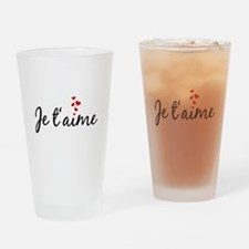 Je taime, I love you, French word art Drinking Gla
