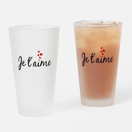 Je taime, I love you, French word art Drinking Gla