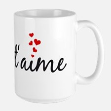 Je taime, I love you, French word art Mugs