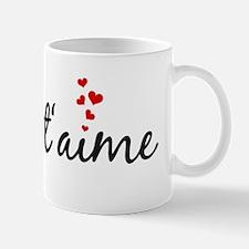 Je taime, I love you, French word art Mugs
