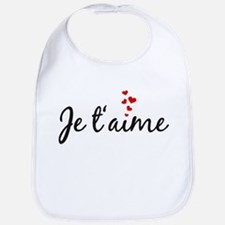 Je taime, I love you, French word art Bib