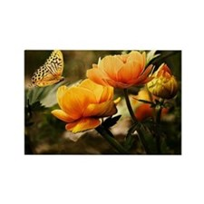 Golden Peonies and Butterfly Rectangle Magnet