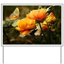 Golden Peonies and Butterfly Yard Sign