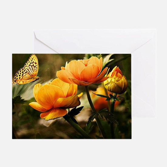 Golden Peonies and Butterfly Greeting Card