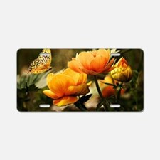 Golden Peonies and Butterfl Aluminum License Plate