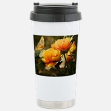 Golden Peonies and Butt Stainless Steel Travel Mug