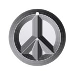 Silver Peace Sign Ornament (Round)