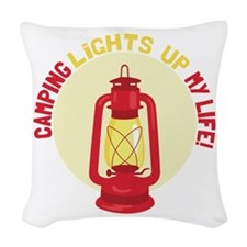 Camping Lights Up My Life Woven Throw Pillow