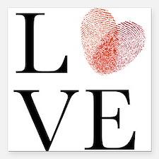 Love with red fingerprint heart Square Car Magnet