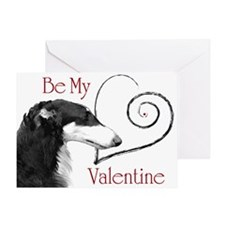 Borzoi Valentine Red-Black Card