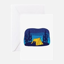 Night Camping Tent Greeting Cards